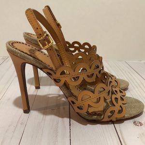 Tory Burch leather/linen heels Size 8 tan